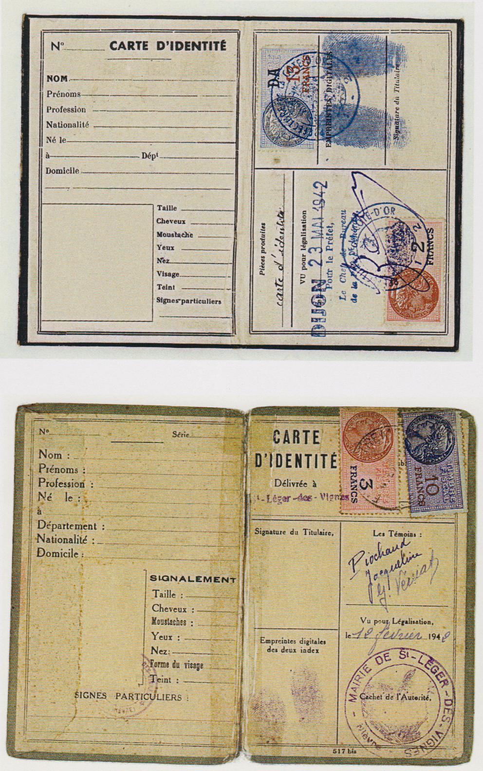 carte d identité vierge à remplir Pièces d'identité vierges – à remplir – Team'Story 1942